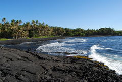 Black Sand Beach. On the Big Island of Hawaii. Also known as Punaluu' State Beach Royalty Free Stock Images