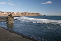 Black Sand Beach. The famous black sand beach of Vik i Myrdal in Iceland Royalty Free Stock Image