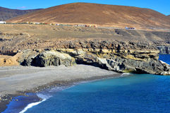 Black sand beach in Ajuy, Fuerteventura, Spain Royalty Free Stock Photos