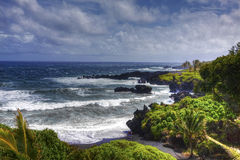 Black Sand Beach in Hawaii Royalty Free Stock Photography