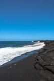 The black sand beach, Hawaii. View of the ocean on the black sand beach in Big Island, Hawaii Stock Photography