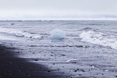 Black Sand Beach with Ice. Jokulsarlon ice lagoon in south eastern Iceland is right between Vatnajokull glacier and the ocean. The setting for lots of Hollywood Royalty Free Stock Photography