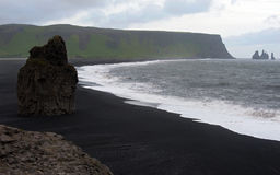 Black sand beach, Iceland. Black sand beach near Vik at South Coast of Iceland Stock Images