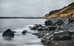 Black Sand Beach on Iceland Coast Royalty Free Stock Image