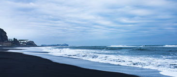 Black sand beach in Iceland Stock Photography