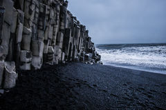 Black Sand Beach - Iceland. The world-famous Reynisfjara shore, near the village Vik in Myrdalur on Iceland`s South Coast, is widely regarded as the most Stock Images