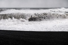 Black Sand Beach - Iceland. The world-famous Reynisfjara shore, near the village Vik in Myrdalur on Iceland`s South Coast, is widely regarded as the most Royalty Free Stock Photos
