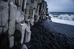 Black Sand Beach - Iceland. The world-famous Reynisfjara shore, near the village Vik in Myrdalur on Iceland`s South Coast, is widely regarded as the most Stock Photos