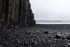 Black Sand Beach - Iceland. The world-famous Reynisfjara shore, near the village Vik in Myrdalur on Iceland`s South Coast, is widely regarded as the most Royalty Free Stock Image