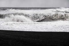 Black Sand Beach - Iceland. The world-famous Reynisfjara shore, near the village Vik in Myrdalur on Iceland`s South Coast, is widely regarded as the most Royalty Free Stock Photo