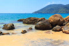 Black sand beach of island Ilha Grande,  Brazil Royalty Free Stock Image
