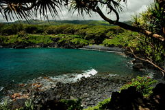 Black Sand Beach, Maui Stock Photo