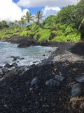 Black sand beach in maui Stock Photography
