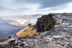 Black sand beach natural landscape, Vik, Iceland. Black sand beach natural landscape, North Atlantic Ocean coast. Vik, Iceland Royalty Free Stock Image