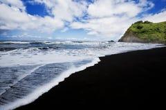 Black Sand Beach at Pololu Beach, Hawaii Stock Images