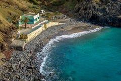 Black sand beach Prainha. Madeira island. Stock Photography