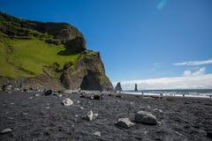 Black Beach, Vik, Iceland. The black sand beach of Reynisfjara in Iceland Stock Photos