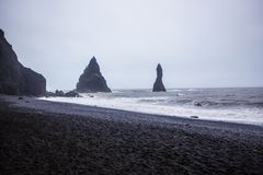 The black sand beach of Reynisfjara in Iceland Royalty Free Stock Images