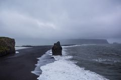 The black sand beach of Reynisfjara in Iceland Royalty Free Stock Photo