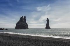 The black sand beach of Reynisfjara near Vik Stock Photos