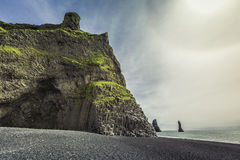 The black sand beach of Reynisfjara near Vik Stock Photos