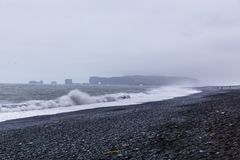 The black sand beach of Reynisfjara in Iceland Stock Photos