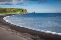 Black sand beach at the sea, Iceland Stock Photography