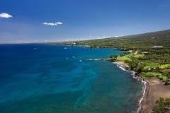 Black Sand Beach and south Maui coastline, Hawaii, USA. Black Sand Beach and view of south Maui coastline, Hawaii, USA Stock Photos
