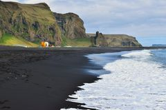 Black sand beach at Vik Royalty Free Stock Images
