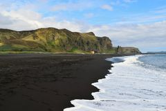 Black sand beach at Vik Royalty Free Stock Photos