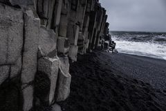 Landscape around black sand beach in Vik, Iceland. Black sand beach in Vik is one of the most beautiful beaches on Earth Stock Photography