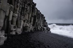 Landscape around black sand beach in Vik, Iceland. Black sand beach in Vik is one of the most beautiful beaches on Earth Stock Images