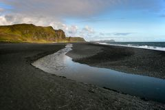 Black sand beach in Vik, southern Iceland stock photo