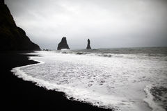 Black sand beach in Vik Royalty Free Stock Photo