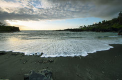 Black sand beach in Waianapanapa State park Stock Photography