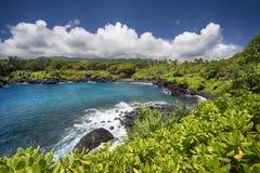 Black sand beach,Waianapanapa state park. Maui, Hawaii Royalty Free Stock Photos