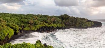 Black sand beack on Maui stock images