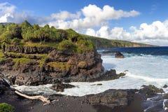 Black sand beack on Maui royalty free stock photos