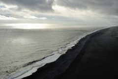 Black sand coast in Iceland Royalty Free Stock Photos