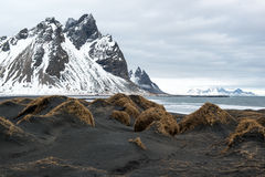 Black sand dunes and Vestrahorn mountain, ocean shore on the Stokksnes Peninsula, Iceland Royalty Free Stock Photo