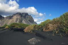 Black sand in Iceland stock photo