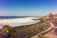 Black sand Jardin beach in Puerto de la Cruz. Tenerife Royalty Free Stock Photography