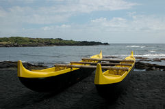 Black Sand Outrigger Royalty Free Stock Images