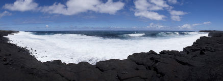 Black Sand Pano Stock Photography