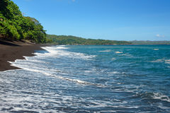 Black sand volcanic beach Royalty Free Stock Photography