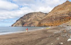 Black sand volcanic beach. Tenerife Island Stock Photography