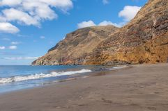 Black sand volcanic beach. Tenerife Island Royalty Free Stock Photography
