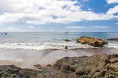 Black sand volcanic beach. Tenerife Island Royalty Free Stock Image