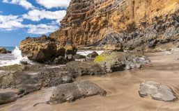 Black sand volcanic beach. Tenerife Island Royalty Free Stock Images