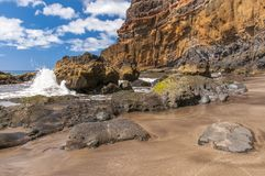 Black sand volcanic beach. Tenerife Island Royalty Free Stock Photo